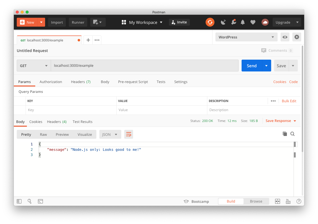 Screenshot of making a request to the Node.js example API using Postman