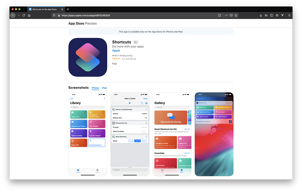 Image of Shortcuts logo and a few example screenshots from using the app