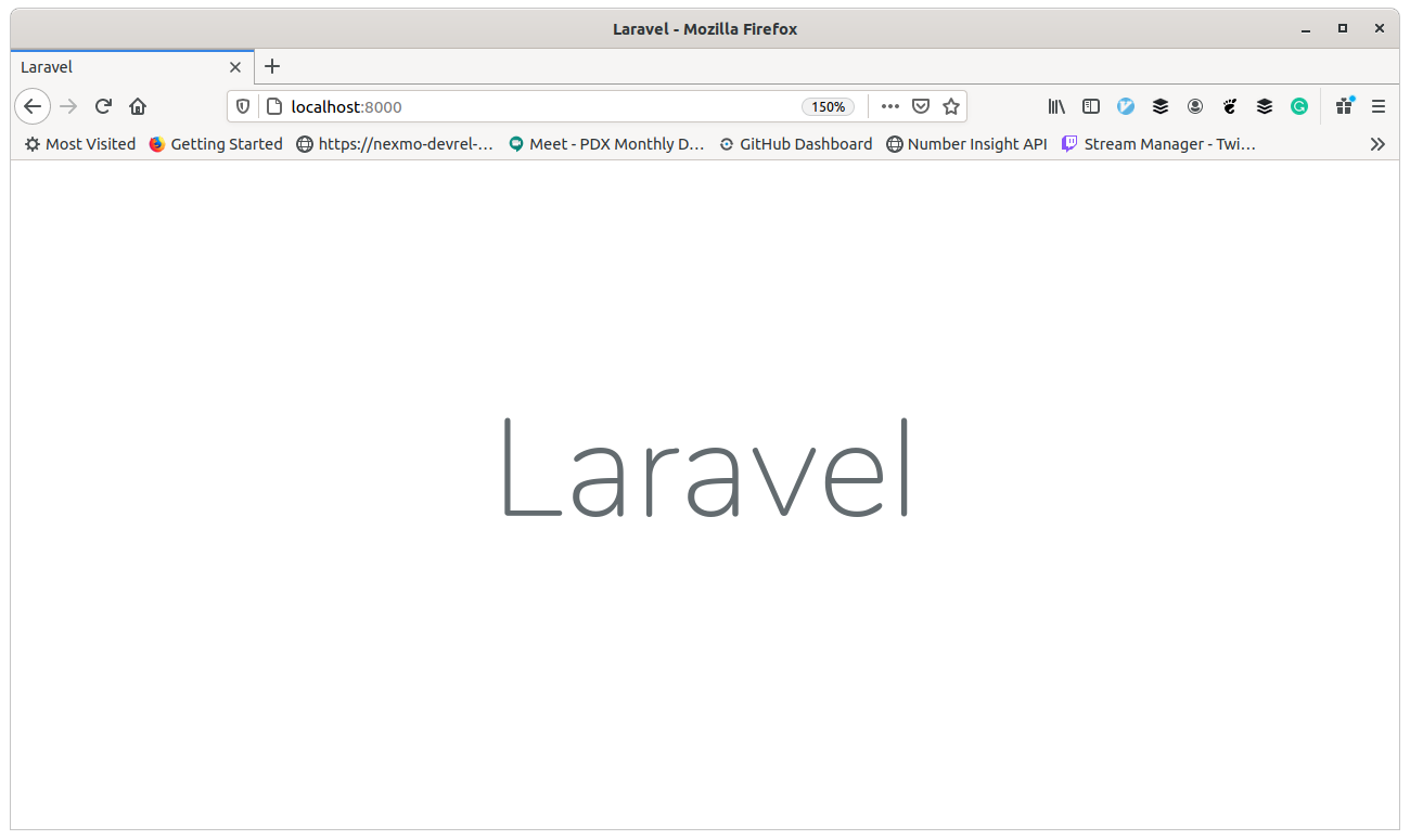 Webpage showing the Laravel one-word greeting for a new app