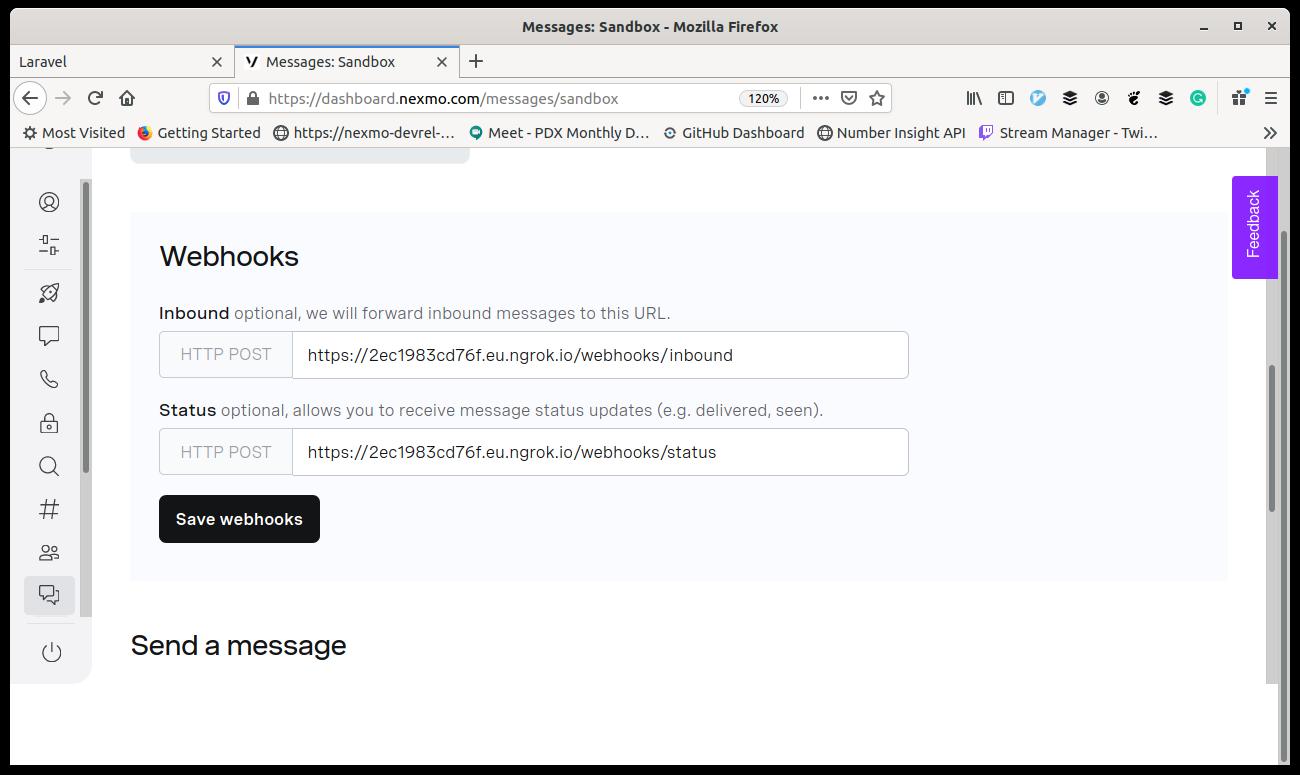 Screenshot of dashboard screen for configuring webhooks for messages sandbox